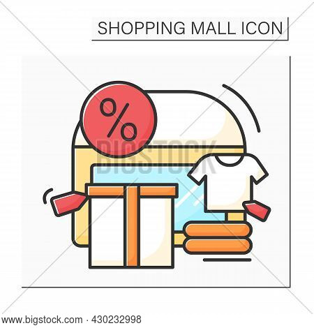 Outlet Center Color Icon. Shopping Center Offers Clothing, Shoes From Past Collections Of Well-known