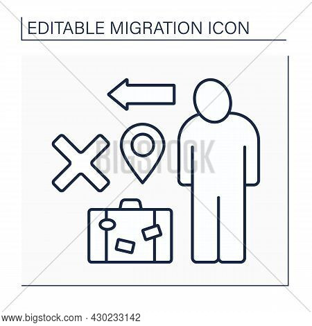 Emigration Line Icon. Relocation Ban. Troubles With Temporary Movement To Another Country. Migration