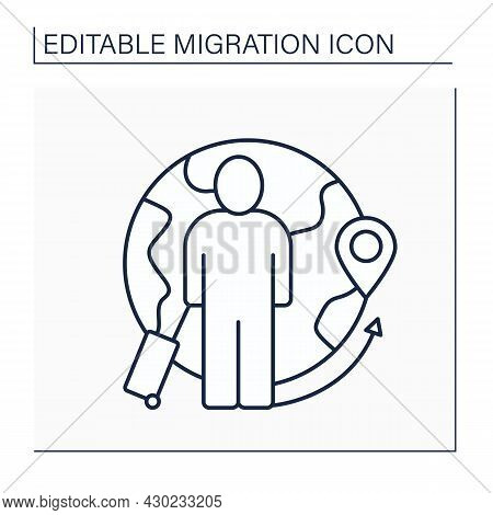 Migrant Line Icon. Person Who Moves From One Place To Another.find Work Or Better Living Conditions.