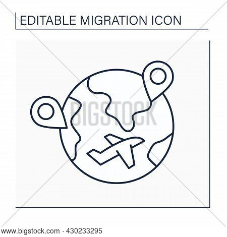 Internal Migration Line Icon. Cross State Boundaries And Stay In Non-native State During Long Time.