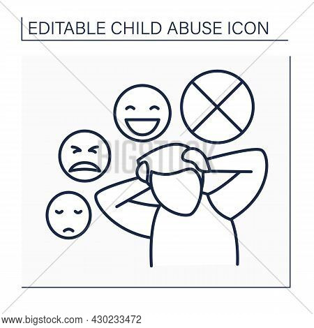 Mental Illness Line Icon. Hard To Control Emotions. Traumatic Experience. Child Abuse Concept. Isola