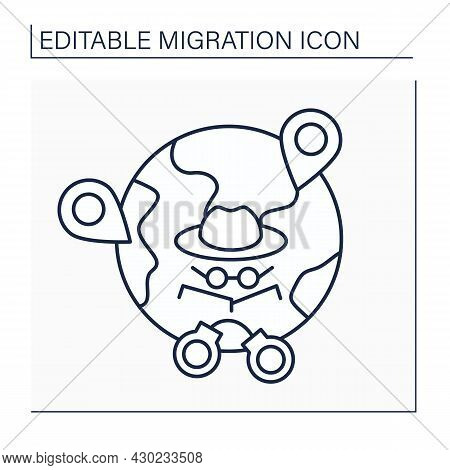 Irregular Migration Line Icon. Illegal Movement. Movement To New Place Of Residence Outside Regulato