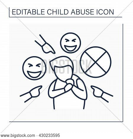 Bullying Line Icon. Ridicule And Harassment From Peers.aggressive Behaviour Against Child. Child Abu