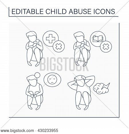 Child Abuse Line Icons Set. Untreated Mental Illness, Abandonment, Educational And Medical Neglect.