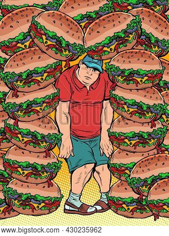 Fat Man And Lots Of Burgers. Food Addiction, Health And Excess Weight