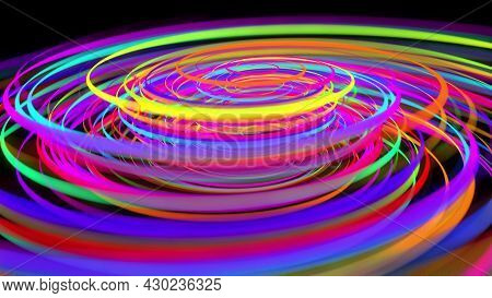 3d Rendering Stylish Creative Abstract Background. Colored Lines Swirling In Spiral. Motion Design B