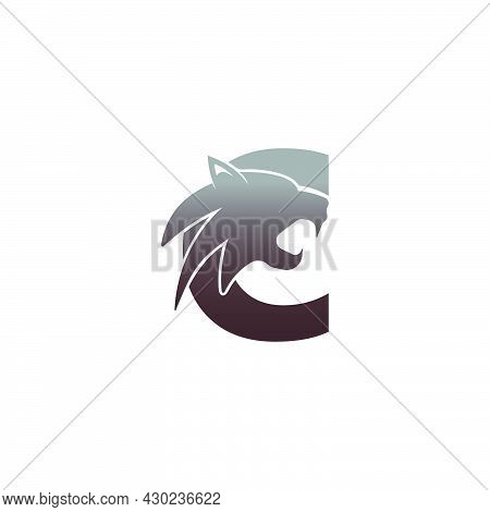 Letter C With Panther Head Icon Logo Vector Template