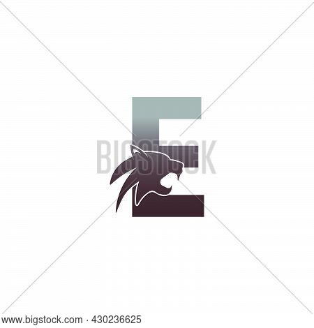 Letter E With Panther Head Icon Logo Vector Template