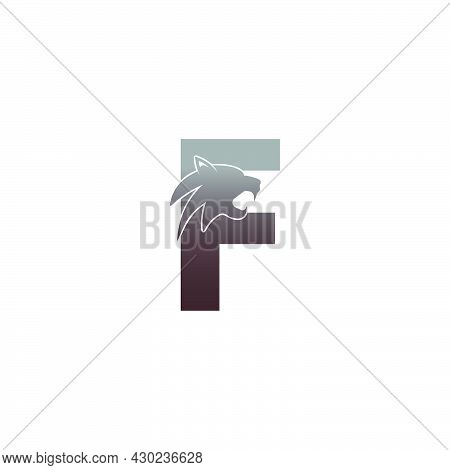 Letter F With Panther Head Icon Logo Vector Template