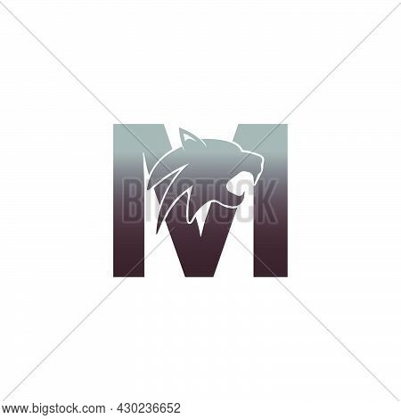 Letter M With Panther Head Icon Logo Vector Template