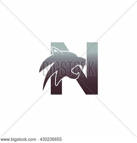 Letter N With Panther Head Icon Logo Vector Template