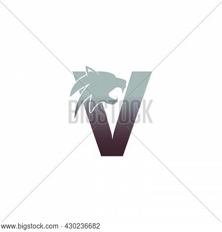 Letter V With Panther Head Icon Logo Vector Template