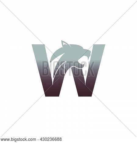 Letter W With Panther Head Icon Logo Vector Template