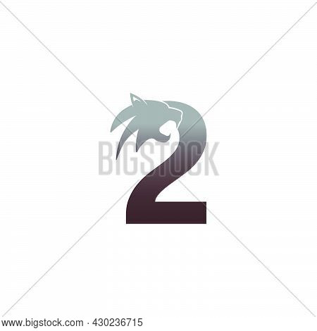 Number 2 With Panther Head Icon Logo Vector Template