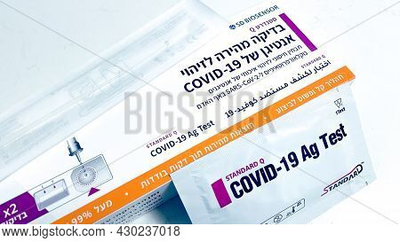 Tel Aviv, Israel, Augost 8, 2021: Covid-19 Home Pcr Self-test Kit