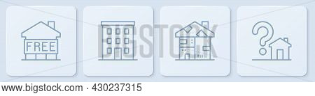 Set Line Shelter For Homeless, Homeless Cardboard House, Multi Storey Building And House With Questi