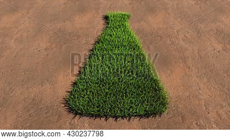Concept conceptual green summer lawn grass symbol shape on brown soil or earth background, medicine vial sign. 3d illustration metaphor for science, pharmaceutical, health, vaccination, immunization