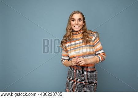 Photo Portrait Of Young Beautiful Nice Positive Smiling Blonde Woman Wearing Striped Pullover Isolat