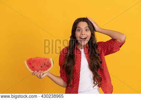 Fructose Healthy Eating On Summer Vacation. Teen Girl Having Fun. Summertime.