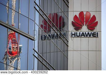 Bucharest, Romania - August 16, 2021: A Logo Of Huawei, Chinese Telecommunications Equipment Company