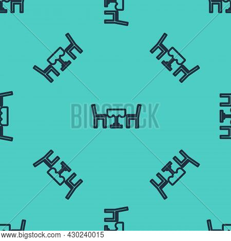 Black Line French Cafe Icon Isolated Seamless Pattern On Green Background. Street Cafe. Table And Ch