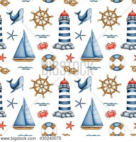 Watercolor Nautical Seamless Pattern. Hand Drawn Lighthouse, Sailboat, Underwater Animal, Ship Steer
