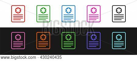 Set Line Medical Clipboard With Clinical Record Icon Isolated On Black And White Background. Prescri