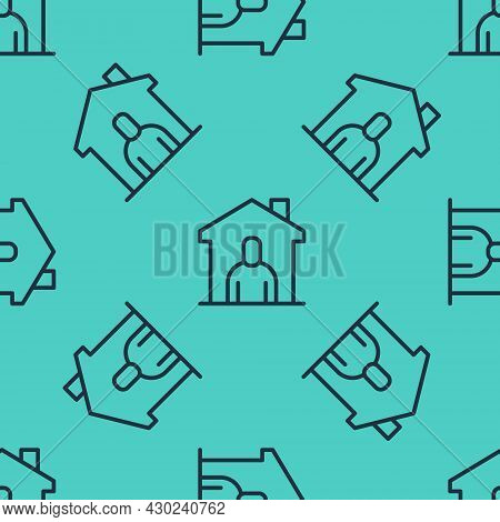 Black Line Shelter For Homeless Icon Isolated Seamless Pattern On Green Background. Emergency Housin