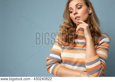 Young Charming Fascinating Beautiful Sexy Positive Blonde Woman Wearing Casual Striped Pullover Isol