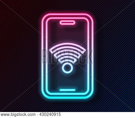 Glowing Neon Line Smartphone With Free Wi-fi Wireless Connection Icon Isolated On Black Background.