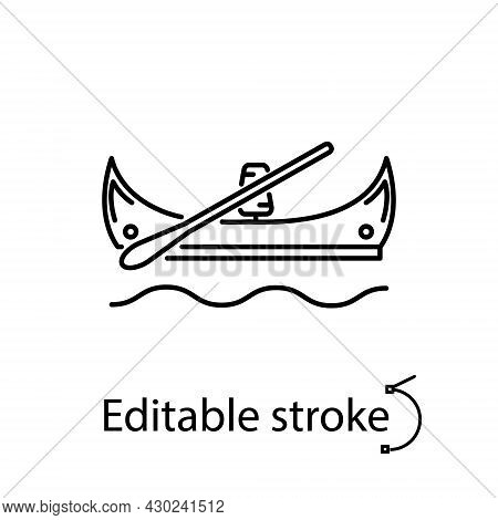 Taiwanese Canoes Outline Icon. Oriental Boat. Asian Gondola. Customizable Linear Contour Symbol. Edi
