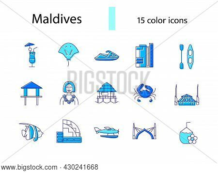 Maldives Items Outline Icons Set. Exotic Resort. Water Bungalow And Sea Plane. Male Arch. Stingray A