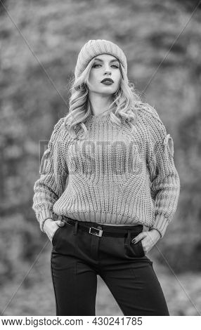 Style Is All About Balance. Woman Wear Warm Sweater Nature Background Defocused. Walk In Fall Park.