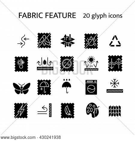 Fabric Feature Glyph Icons Set. Stretch Textile. Moisture Resistant, Rain Cover. Fiber Quality. Mate