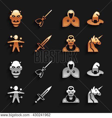 Set Dagger, Witch Hat, Unicorn, Wizard Warlock, Voodoo Doll, Mantle, Cloak, Cape, Mask Of The Devil