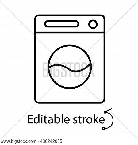 Washer Outline Icon. Easy Care Fabric Feature. Textile Industry. Customizable Linear Contour Symbol.