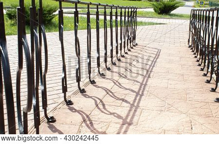Wheelchair Ramps Closeup With Steel Handrails In City Park