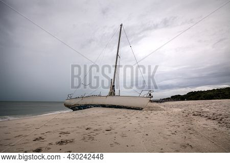 Grey Sky Over A Shipwreck Off The Coast Of Clam Pass In Naples, Florida
