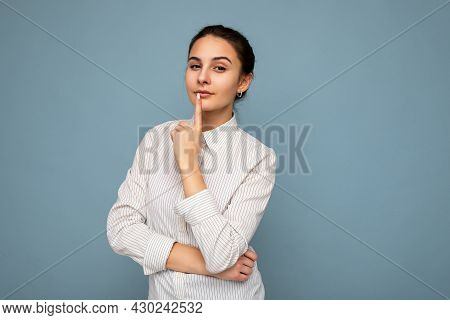 Portrait Of Young Attractive Beautiful Thoughtful Brunette Woman With Sincere Emotions Wearing Casua
