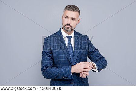 Successful Businessman Man In Businesslike Suit Cheking Time On Wristwatch, Fashion Accessory