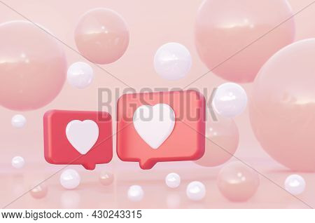 Two Red Speech Bubble With Hearts. A Gentle Coral Background Among The Spheres. A Dialogue Between L