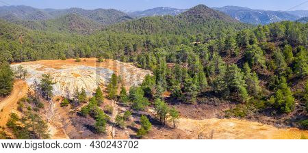 Aerial Panorama Of Abandoned Pyrite And Gold Mine In Paphos Forest, Cyprus