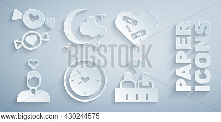 Set Clock With Heart, Healed Broken, Couple In Love, Moon And Stars And Candy Icon. Vector