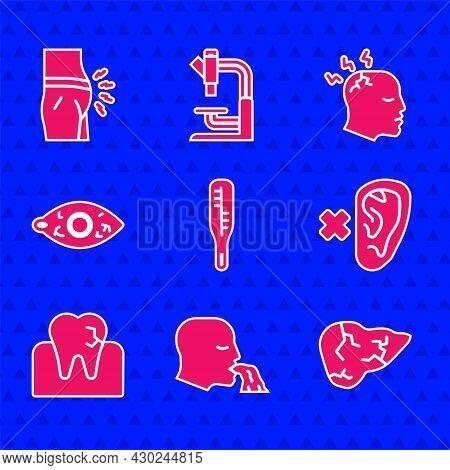 Set Medical Thermometer, Vomiting Man, Hepatitis Virus, Deaf, Tooth With Caries, Reddish Eye, Man Ha
