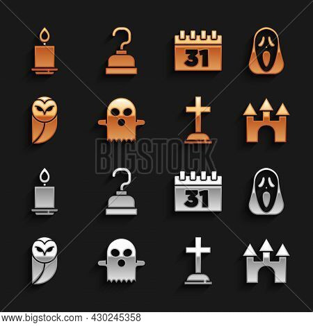 Set Ghost, Funny And Scary Ghost Mask, Castle, Tombstone With Cross, Owl, Calendar Halloween, Burnin