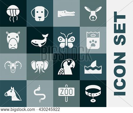 Set Collar With Name Tag, Shark Fin In Ocean Wave, Bag Of Food, Crocodile, Whale, Hippo Or Hippopota