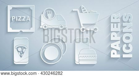 Set Plate, Shopping Cart And Food, Food Ordering Pizza, Online Delivery, Fast By And Pizza Cardboard