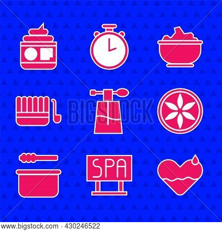 Set Perfume, Spa Salon Signboard, Heart Heal, Leaf Plant Nature, Sauna Bucket And Ladle, Sea Salt In