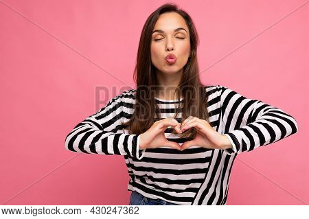 Young Positive Adorable Happy Beautiful Brunette Woman With Sincere Emotions Wearing Casual Striped