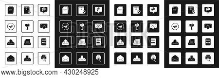 Set Mail And E-mail On Speech Bubble, Box, Paper Plane, Document Pen, Envelope With Star, Shield, An